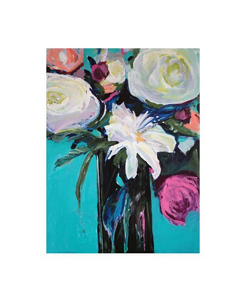 "Trademark Global Jacqueline Brewe White Lily Bouquet Canvas Art - 36.5"" x 48"""