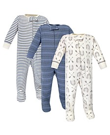 Zipper Sleep N Play, Hedgehog, 3 Pack, 6-9 Months