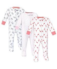 Zipper Sleep N Play, Flamingo, 3 Pack, 3-6 Months