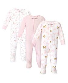 Zipper Sleep N Play, Unicorn, 3 Pack, 3-6 Months