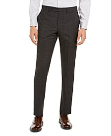 Men's Modern-Fit Stretch Charcoal/Brown Plaid Suit Separate Pants