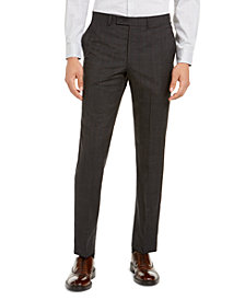 DKNY Men's Modern-Fit Stretch Charcoal/Brown Plaid Suit Separate Pants