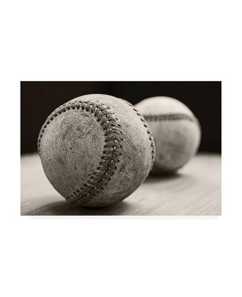 "Trademark Global Edward M. Fieldin Old Baseballs Canvas Art - 27"" x 33.5"""