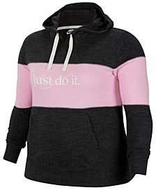 Plus Size Sportswear Gym Vintage Striped Hoodie