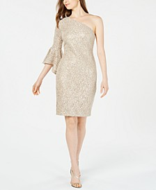 Lace & Sequin One-Shoulder Dress