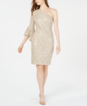 Lace Sequin One Shoulder Dress In Goldcream