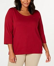 Plus Size Cotton Flag-Logo T-Shirt