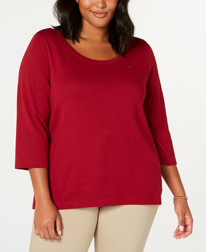 Tommy Hilfiger Plus Size Cotton Flag-Logo T-Shirt