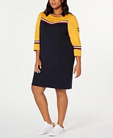 Plus Size Striped-Trim Cotton Sweatshirt Dress