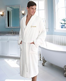 "Linum Home Terry Bathrobe with Embroidered ""Groom"""