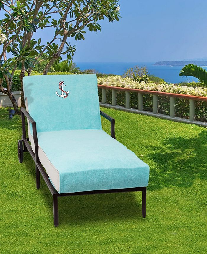 Linum Home - Standard Size Chaise Lounge Cover Embroidered with Anchor