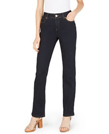 I.N.C. Petite Tummy-Control Straight-Leg Jeans, Created for Macy's