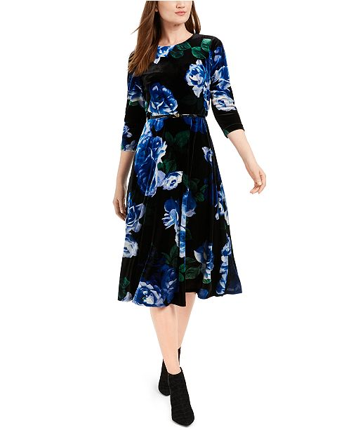 Calvin Klein Belted Printed Velvet Dress