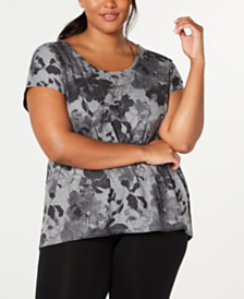 Ideology Plus Size Floral-Print High-Low Top, Created for Macy's