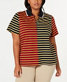 Plus Size Mixed-Stripe Zip Polo Shirt