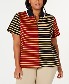 Tommy Hilfiger Plus Size Mixed-Stripe Zip Polo Shirt