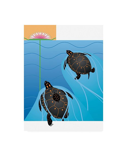"Trademark Global Marie Sansone Turtles and Flowers Canvas Art - 37"" x 49"""