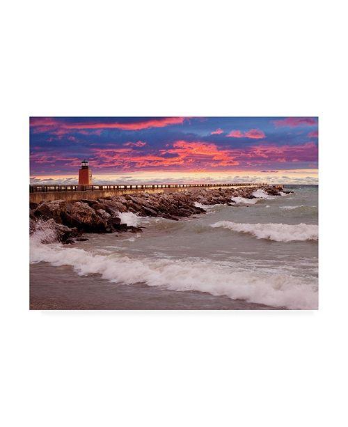 "Trademark Global Monte Nagler Lighthouse at Sunset Michigan Canvas Art - 20"" x 25"""