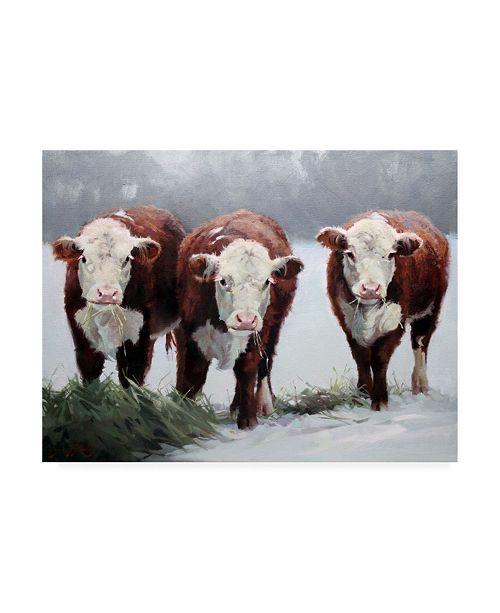 "Trademark Global Carolyne Hawley Winter Shadows Cows Canvas Art - 15"" x 20"""
