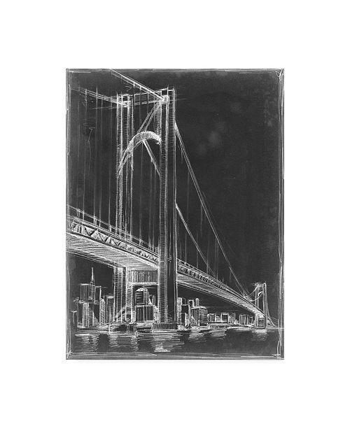 "Trademark Global Ethan Harper Suspension Bridge Blueprint I Canvas Art - 15"" x 20"""