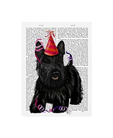 """Fab Funky Scottish Terrier and Party Hat Canvas Art - 15.5"""" x 21"""""""
