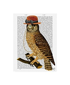 "Fab Funky Owl with Steampunk Style Bowler Hat Canvas Art - 15.5"" x 21"""