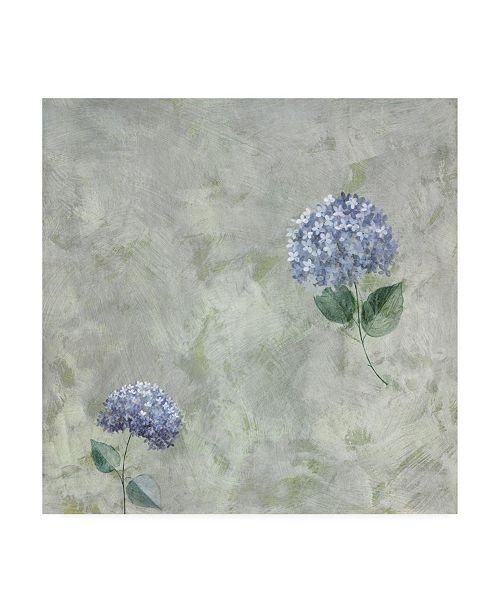 "Trademark Global Pablo Esteban Blue Flowers Over Gray 1 Canvas Art - 15.5"" x 21"""