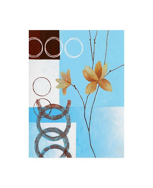 "Trademark Global Pablo Esteban Brown Circles on Blue Left Canvas Art - 19.5"" x 26"""