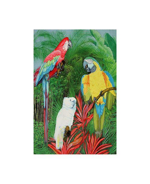 "Trademark Global Patrick Sullivan 3 Parrots Canvas Art - 36.5"" x 48"""