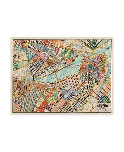 "Trademark Global Nikki Galapon Modern Map of Boston Canvas Art - 27"" x 33.5"""