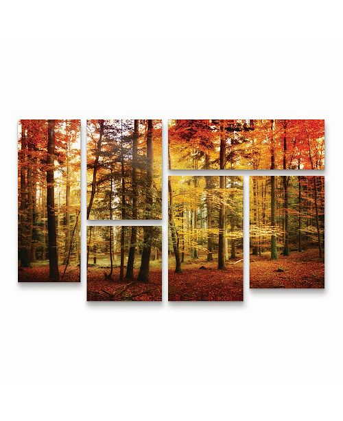 "Trademark Global Philippe Sainte-Laudy Brilliant Fall Color Multi Panel Art Set 6 Piece - 49"" x 19"""