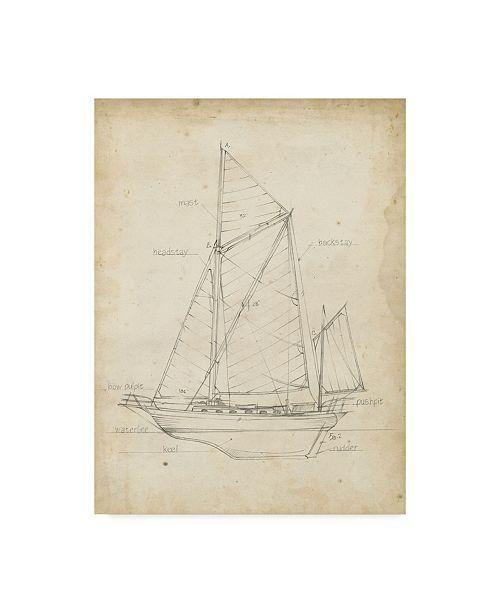 "Trademark Global Ethan Harper Sailboat Blueprint V Canvas Art - 37"" x 49"""