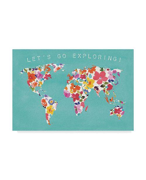 "Trademark Global Wild Apple Portfolio Bright World Teal Canvas Art - 37"" x 49"""