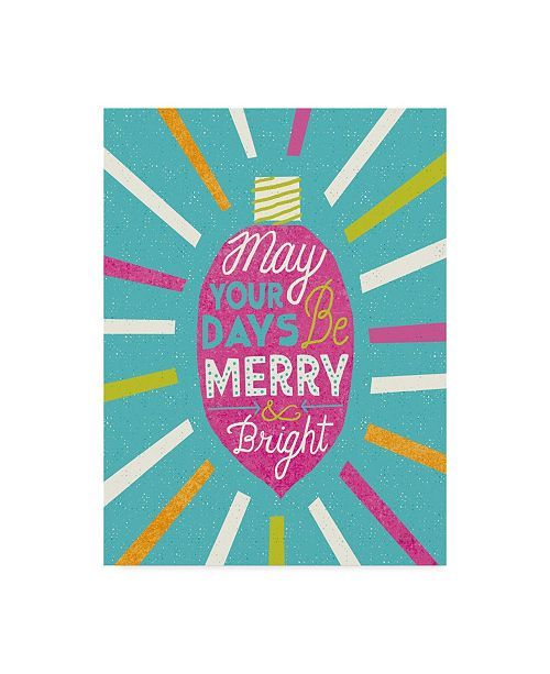 "Trademark Global Michael Mullan Festive Holiday Light Bulb Merry and Bright V2 Canvas Art - 37"" x 49"""