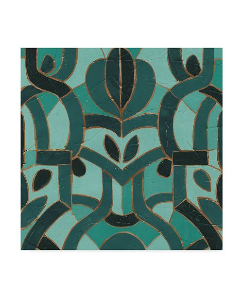 "Trademark Global June Erica Vess Turquoise Mosaic I Canvas Art - 27"" x 33"""