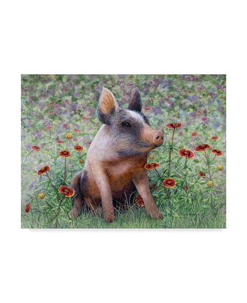 """Trademark Global Marcia Matcham Flower Girl Piggy Canvas Art - 37"""" x 49"""""""