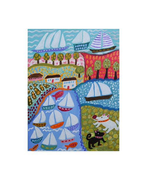 "Trademark Global Karen Fields Dogs and Sailboats Canvas Art - 15"" x 20"""