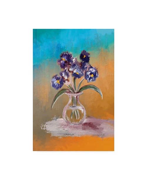 """Trademark Global Lois Bryan Purple and Blue Pansies in Glass Vase Canvas Art - 15"""" x 20"""""""