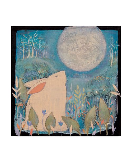 "Trademark Global Sue Davis Rabbit and Moon Canvas Art - 27"" x 33"""
