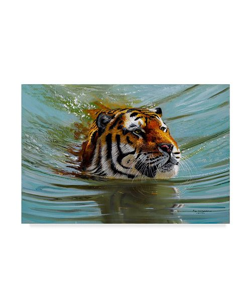 "Trademark Global Pip Mcgarry Crossing Over Swimming Tiger Canvas Art - 15"" x 20"""