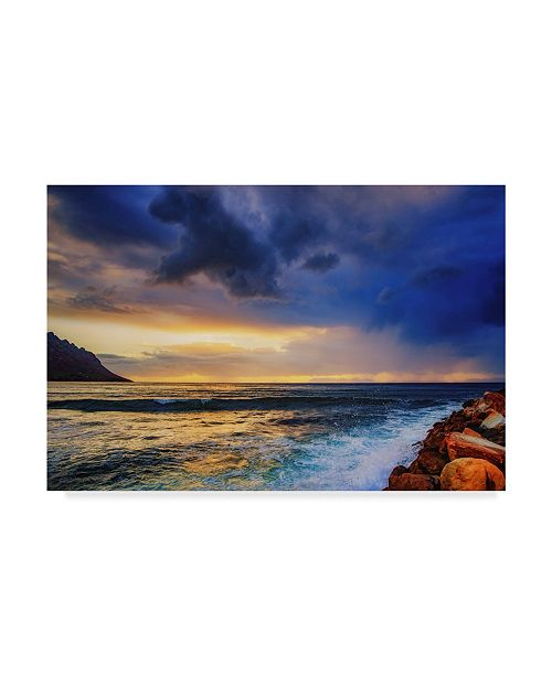 """Trademark Global Pixie Pics White Waves Under Clouds Canvas Art - 20"""" x 25"""""""