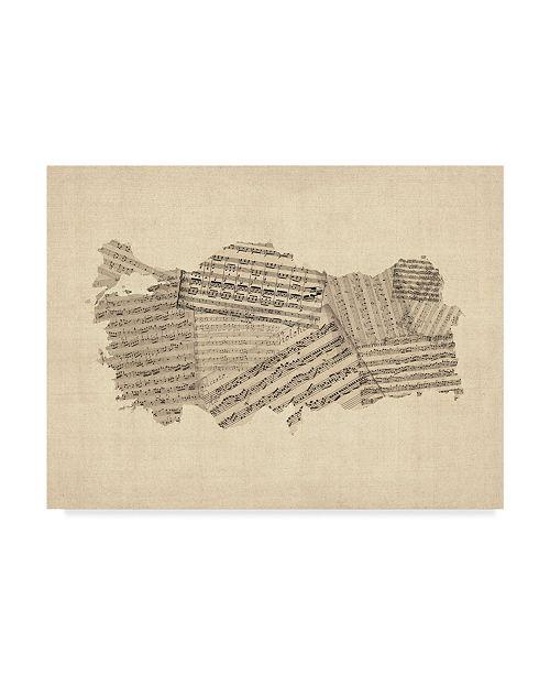 "Trademark Global Michael Tompsett Old Sheet Music Map of Turkey Map Canvas Art - 15"" x 20"""