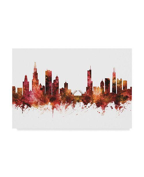 "Trademark Global Michael Tompsett Chicago Illinois Skyline Red III Canvas Art - 37"" x 49"""