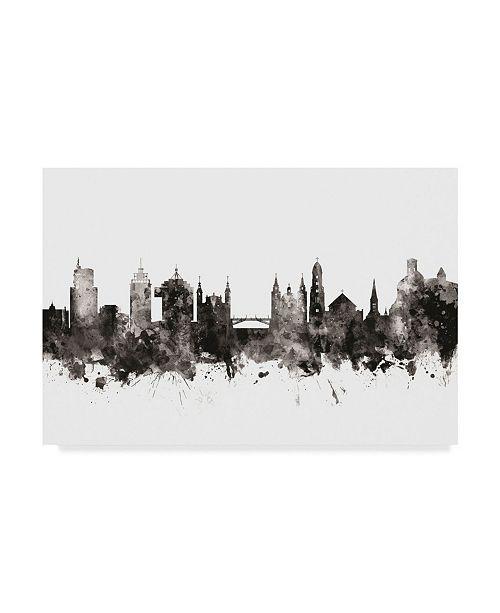 "Trademark Global Michael Tompsett Ljubljana Slovenia Skyline Black White Canvas Art - 37"" x 49"""