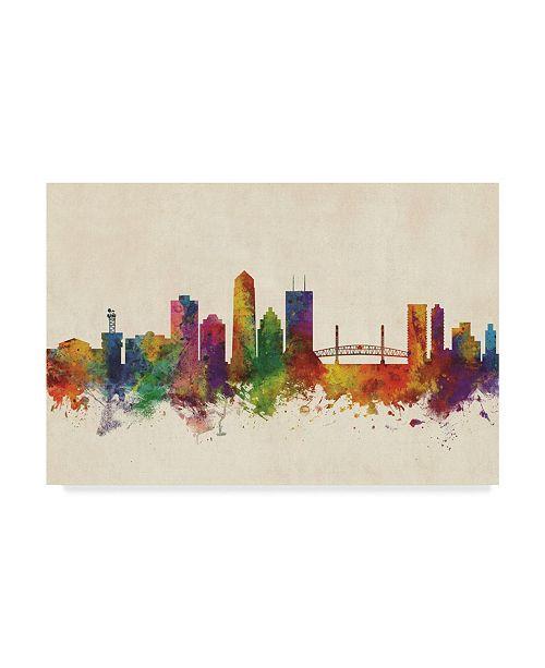 "Trademark Global Michael Tompsett Jacksonville Florida Skyline Color Canvas Art - 15"" x 20"""
