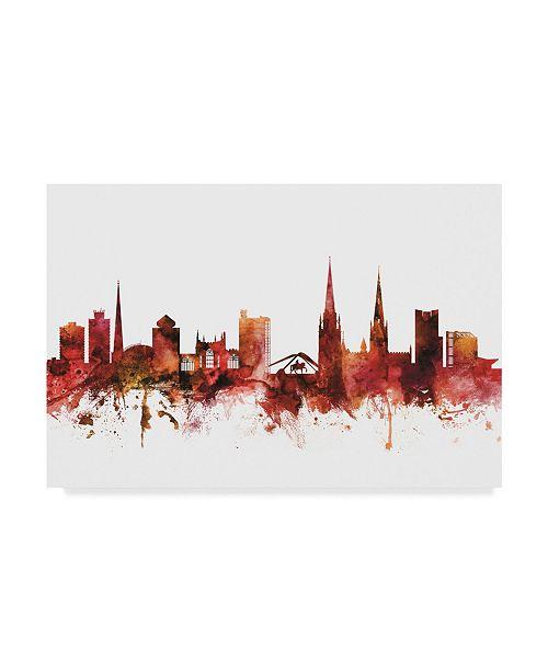 "Trademark Global Michael Tompsett Coventry England Skyline Red Canvas Art - 20"" x 25"""