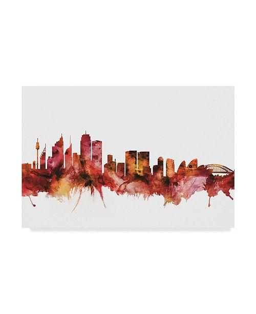 "Trademark Global Michael Tompsett Sydney Australia Skyline Red Canvas Art - 20"" x 25"""