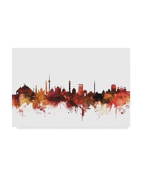 "Trademark Global Michael Tompsett New Delhi India Skyline Red Canvas Art - 20"" x 25"""