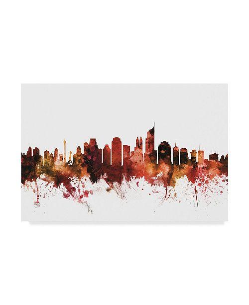 "Trademark Global Michael Tompsett Jakarta Skyline Indonesia Red Canvas Art - 20"" x 25"""