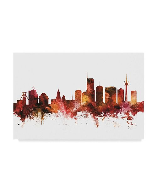 "Trademark Global Michael Tompsett Essen Germany Skyline Red Canvas Art - 20"" x 25"""